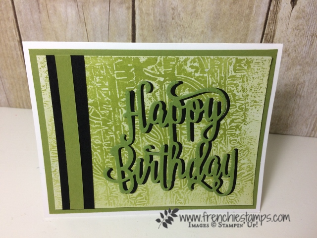 Woodland Embossing Folder, Happy Birthday Thinlits, Stampin'Up!, Wax Resist on Glossy