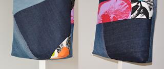 Tote bag en jeans denim patchwork, anse nylon, intérieur lin beige.
