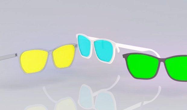 composion de 3 gafas modeladas con Solidworks