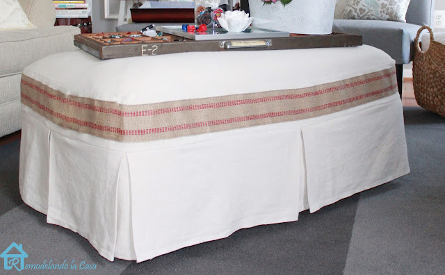 drop cloth material slipcover for ottoman