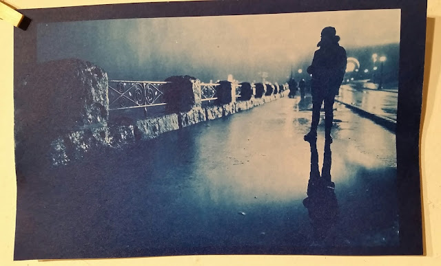 Cyanotype image of Niagara Falls, USA