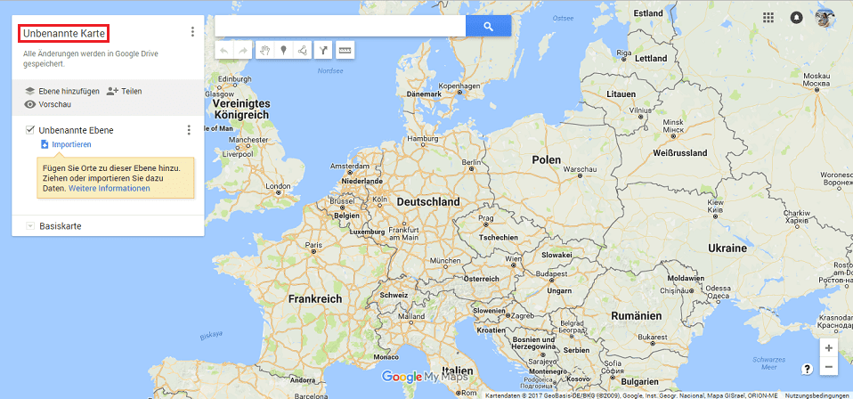 Google Maps Karte benennen Screenshot