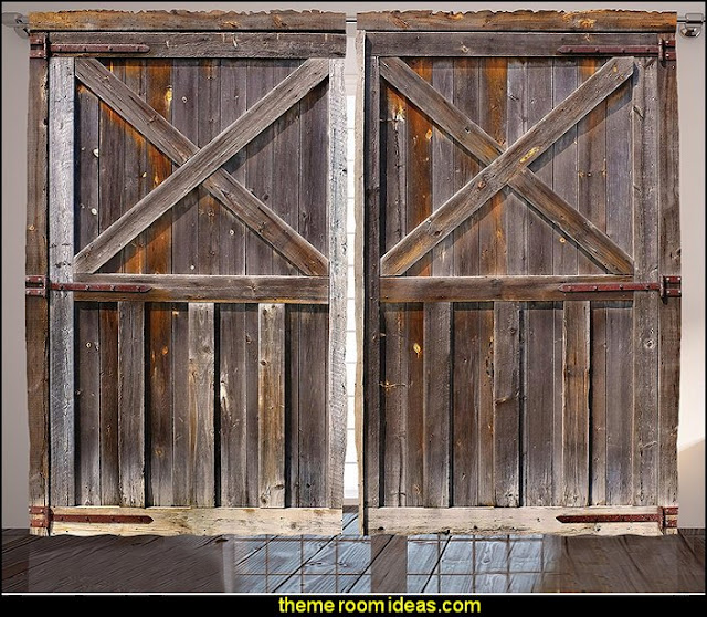 Old Wooden Barn Door of Farmhouse Oak Countryside Village Board Rural Life curtains