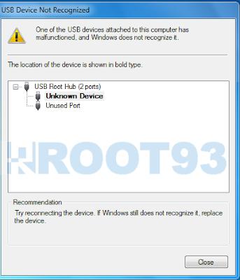 mengatasi masalah USB Device Not Regonized