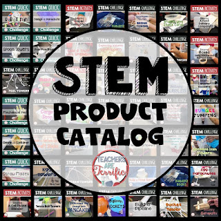 STEM Product catalog! This lists all my challenges by grade level and by NGSS standards. It also lists them alphabetically, by type, and includes a suggested materials list.