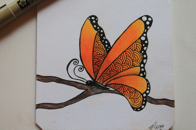 Zentangle butterfly color shaded