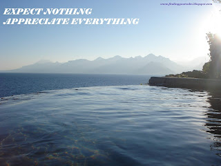Image of water flowing over edge of rocks with sea and mountains in background with text: Expect Nothing, Appreciate Everything