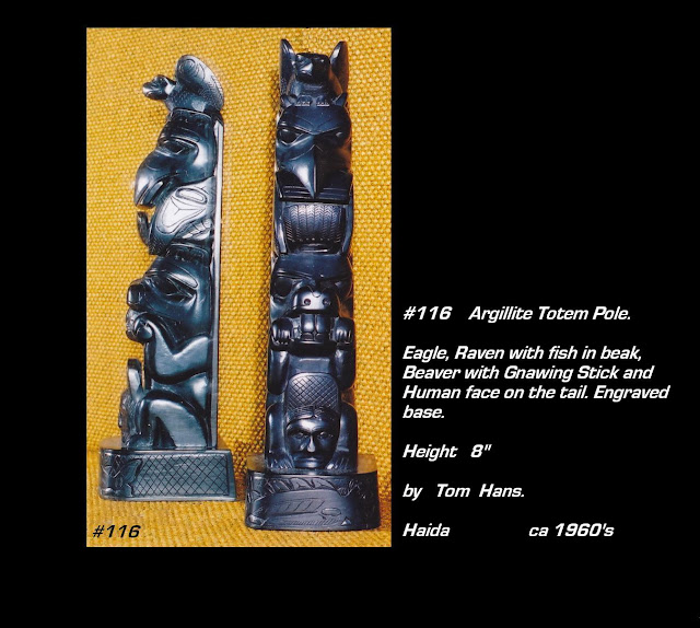 Totem pole argillite carving Tom Hans