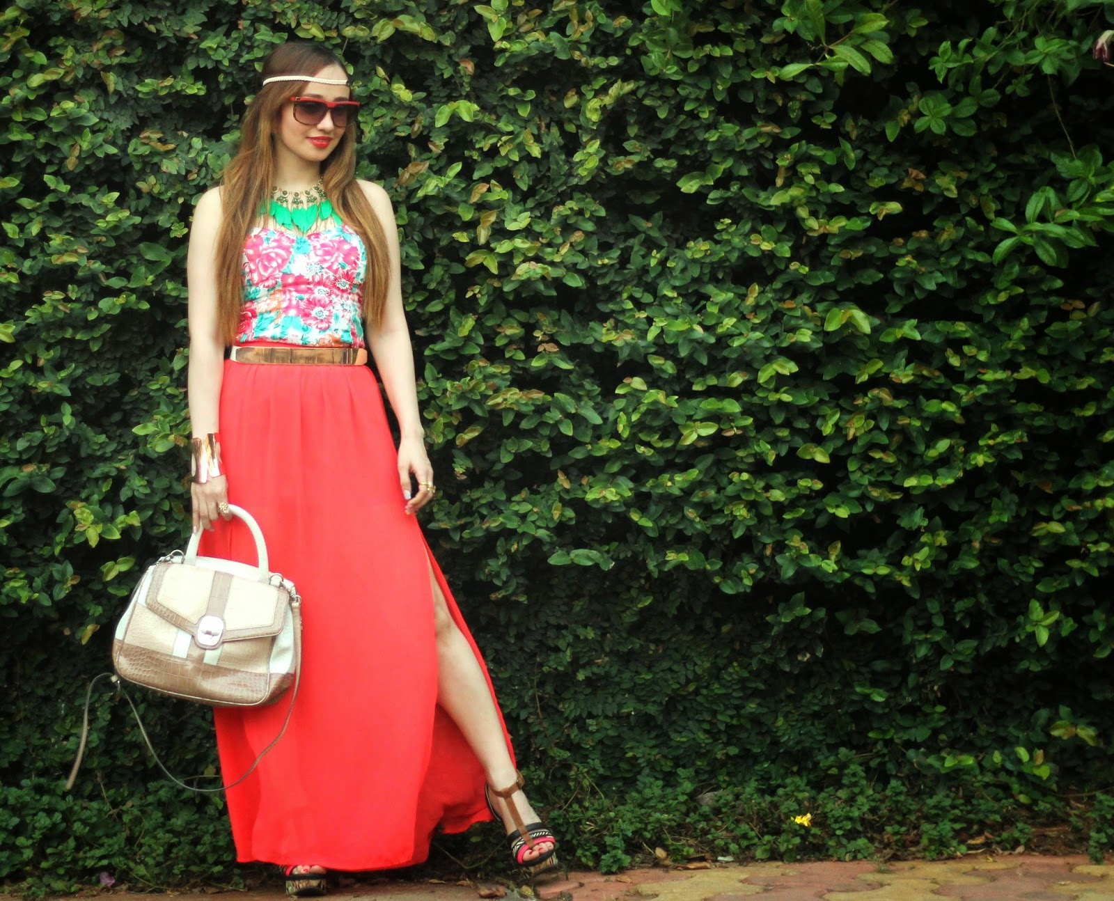 Boho-Chic OOTD - Floral Top & Maxi Skirt