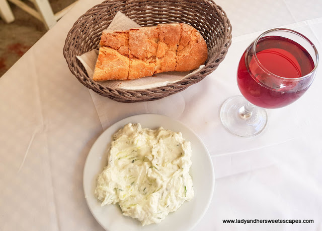 Greek wine and starter