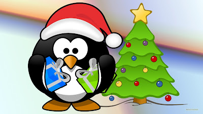 Kerst achtergrond met pinguin met cadeautjes en kerstboom.