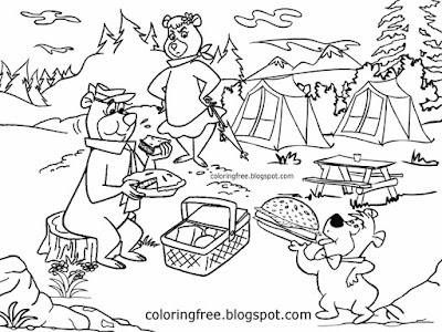 Teddy bears picnic campground USA family resort Jellystone Yogi Cindy cute bear coloring book pages