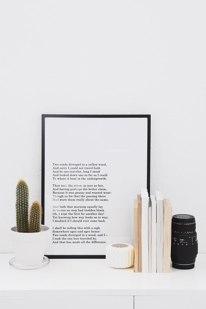 Kreative Ideen mit Fotopostern DIY: Lieblingsgedicht gerahmt, auf dem Sideboard dekoriert im skandinavischen Stil