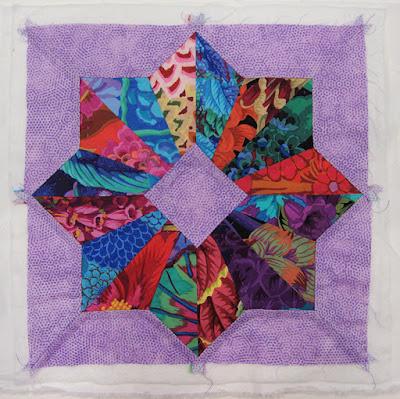Robin Atkins, hand pieced, hand quilted block, Kaffe Fassett fabrics