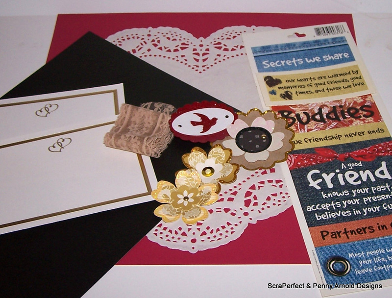 Here are the basic supplies I started with  a sticker sheet  a few  invitation cards  some homemade flowers  a large heart shaped doily  lace    title Love Premade Wedding Scrapbook layout with ScraPerfect  . Premade Wedding Scrapbook. Home Design Ideas