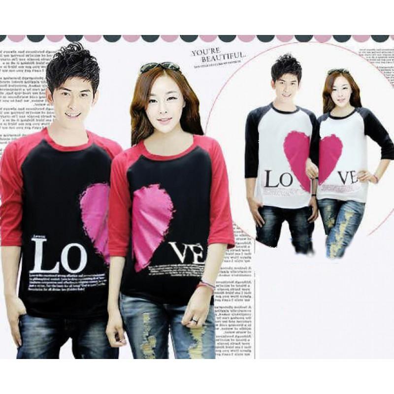 Jual Online Kimono 3/4 Love Valentine Couple Murah Jakarta Bahan Combed Terbaru