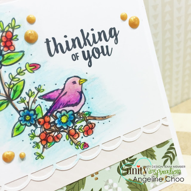 ScrappyScrappy: Thinking of you #scrappyscrappy #unitystampco #sotw #stamp #card #colleencoloredpencils #dcvw #vivadecor