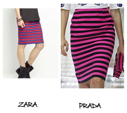 Clones 2011 falda rayas Prada Zara