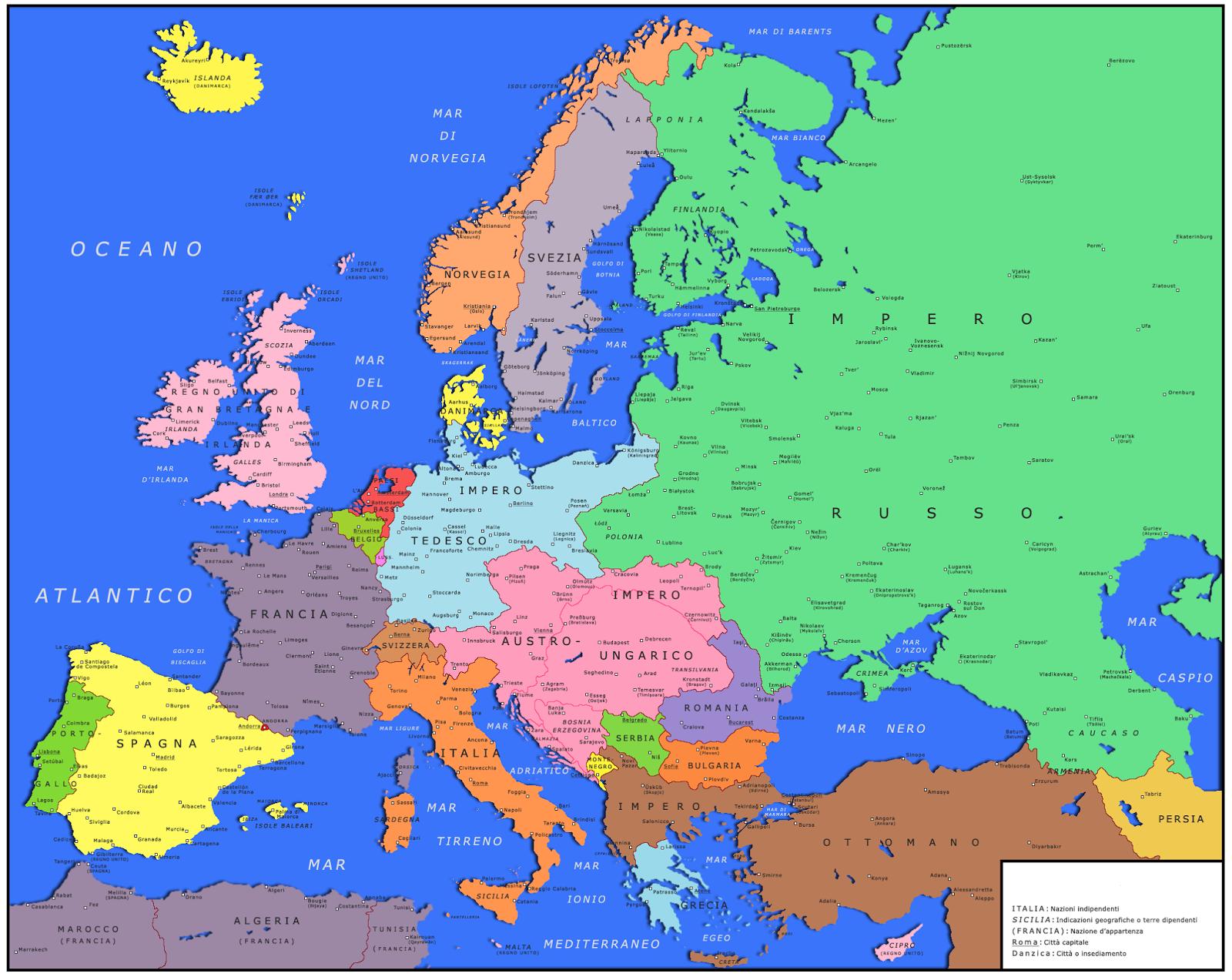 Cartina Politica Europa 1914.1898 Un Anno Ricco Di Eventi Mappa Politica Dell Europa Nel 1898