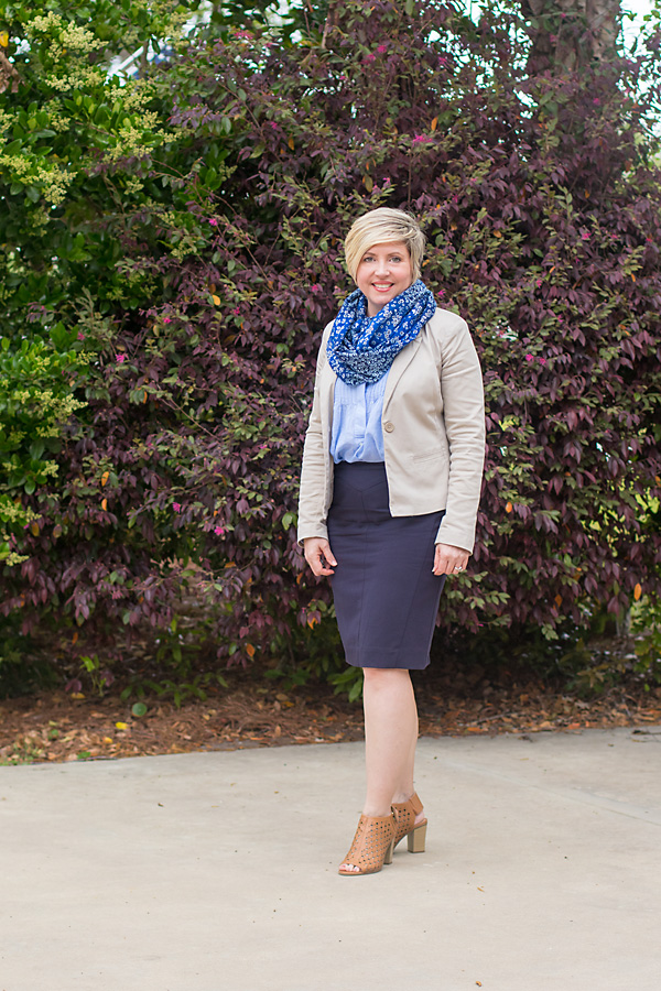 beige blazer office outfit