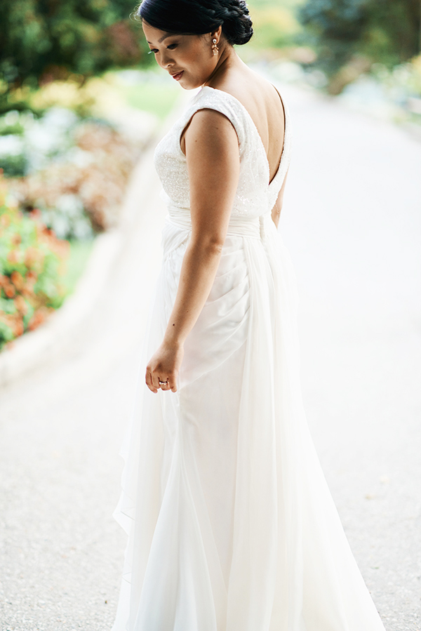 Vancouver-based beauty, life and style blogger Solo Lisa in a David's Bridal wedding gown in Stanley Park, Vancouver, Canada