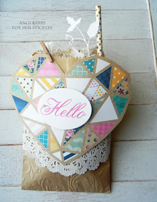 SRM Stickers Blog - BIG Hello Gift Bags by Angi Barrs - #kraftbags #embossed #giftbag #partyfavor #doilies #bigstamps #bighello #hello #clearstamps