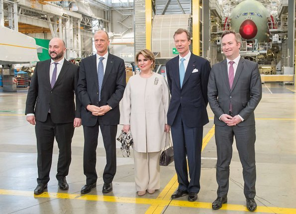 Grand Duke Henri and Grand Duchess Maria Teresa visited the National Centre for Space Studies (CNES) and Airbus A380 assembly site in Blagnac. Mango tousers and coat