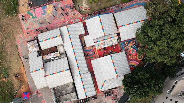 aerial view rainbow village taichung taiwan