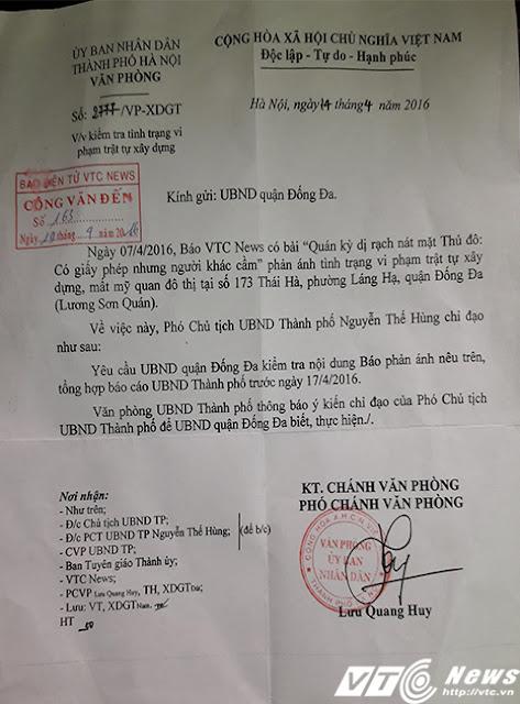 Công văn gửi UBND TP Hà Nội