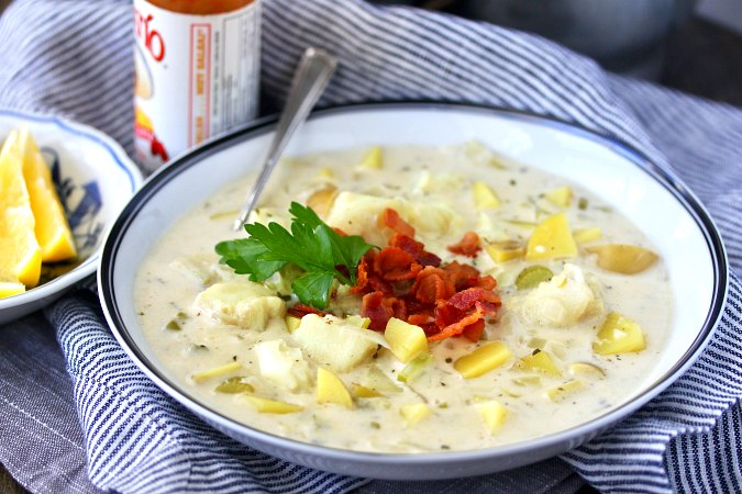 cod chowder with bacon