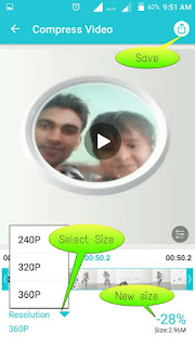 Screenshot of vidcompact app's video editing page