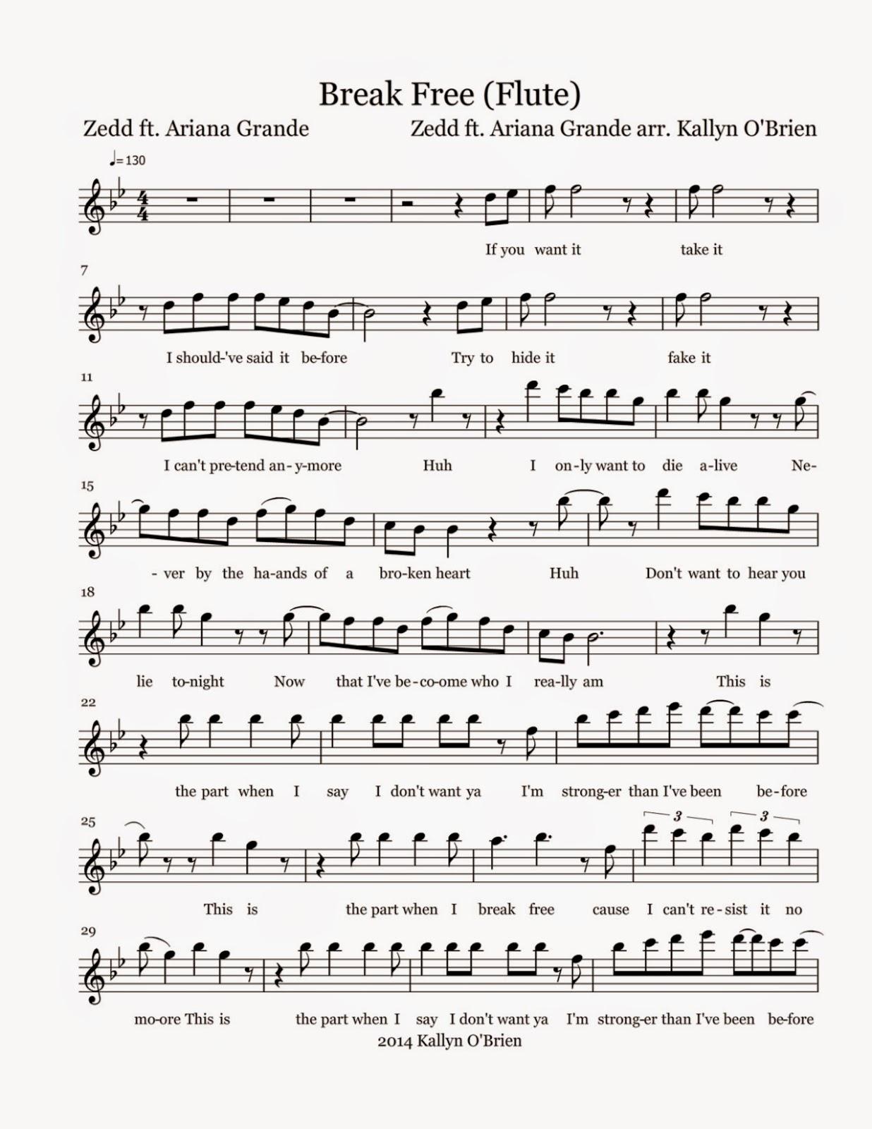 Flute Sheet Music: Break Free - Sheet Music