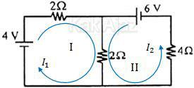 Aliran arus listrik pada rangkaian listrik dengan dua sumber tegangan, hukum II Kirchhoff