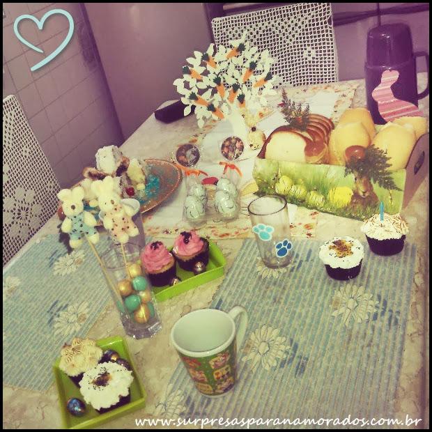 decoração de páscoa mesa de café da manhã