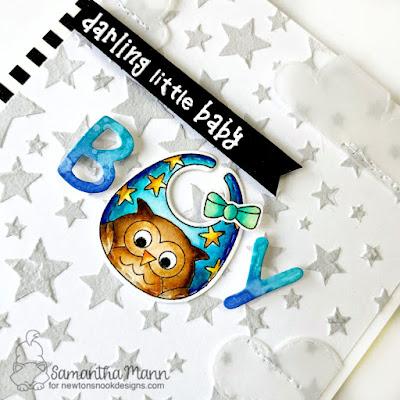 Darling Little Baby Boy Card by Samantha Mann for Newton's Nook Designs, Baby Card, Stencil, Stars, Bibs, new baby, #newtonsnook #babycard #baby #bibs, #babyboy #handmadecards #cards