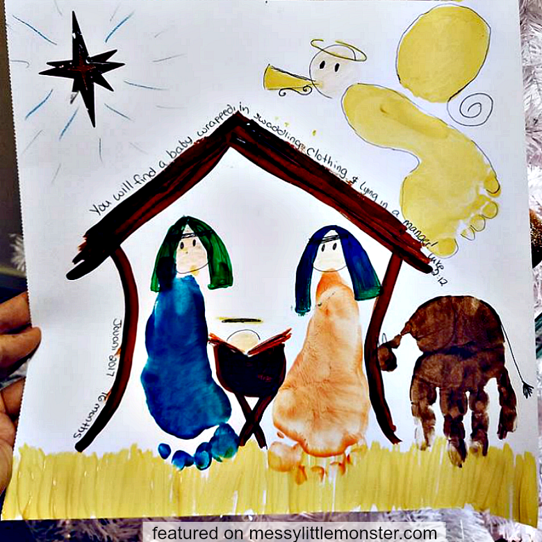 Nativity Handprint And Footprint Craft Messy Little Monster