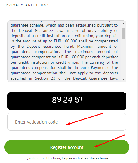Регистрация в Ebay Shares 4