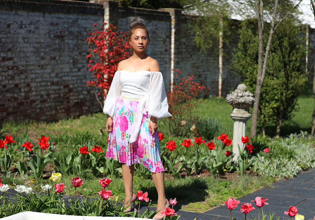 off-the-shoulder / floral midi skirt outfit