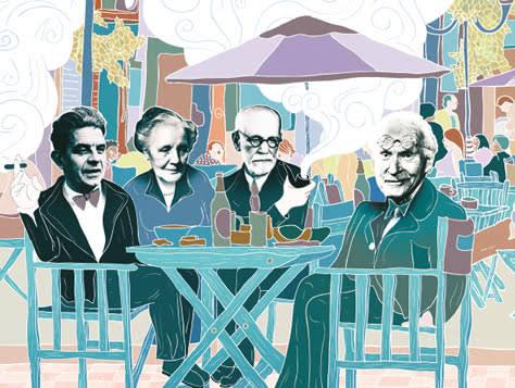 Jacques Lacan, Melanie Klein, Sigmund Freud e Carl Gustav Jung, respectivamente. Alguns dos teóricos mais famosos das Psicologias Profundas.