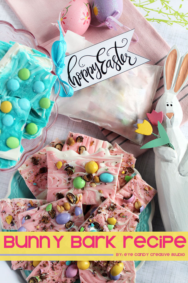 hunt is on, springmoments, bunny bark, easter treat, free easter tags