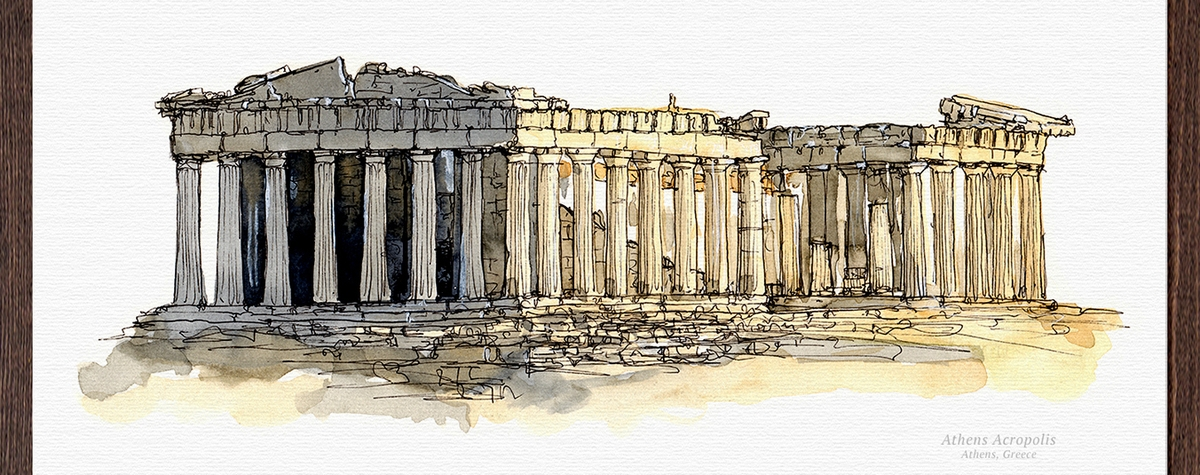 09-The-Acropolis-of-Athens-Greece-Mucahit-Gayiran-Architectural-Landmarks-Watercolor-Paintings-www-designstack-co