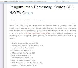 Pemenang 3 Kontes SEO Agroteknologi Pemenang ke 9 kontes seo nayfa grup
