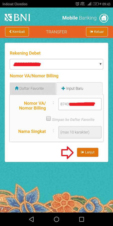 masukkan nomor billing ke kotak yang disediakan