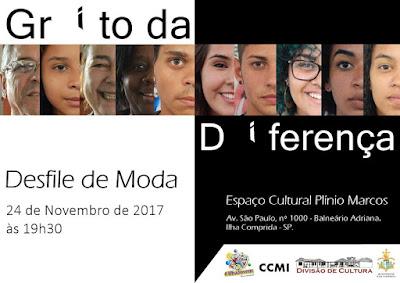 Desfile de moda Grito da Diferença na sexta 24/11 contará com modelos do CCMI e Ilha Jovem