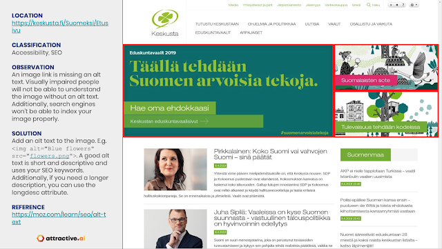 Keskusta had an image without an ALT attribute as an election banner