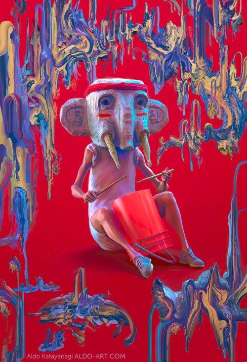 Aldo Katayanagi arte deviantart ilustrações pinturas surreais psicodélicas sombrias