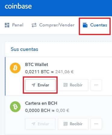 enviar bitcoin BTC desde coinbase guía fácil paso a paso