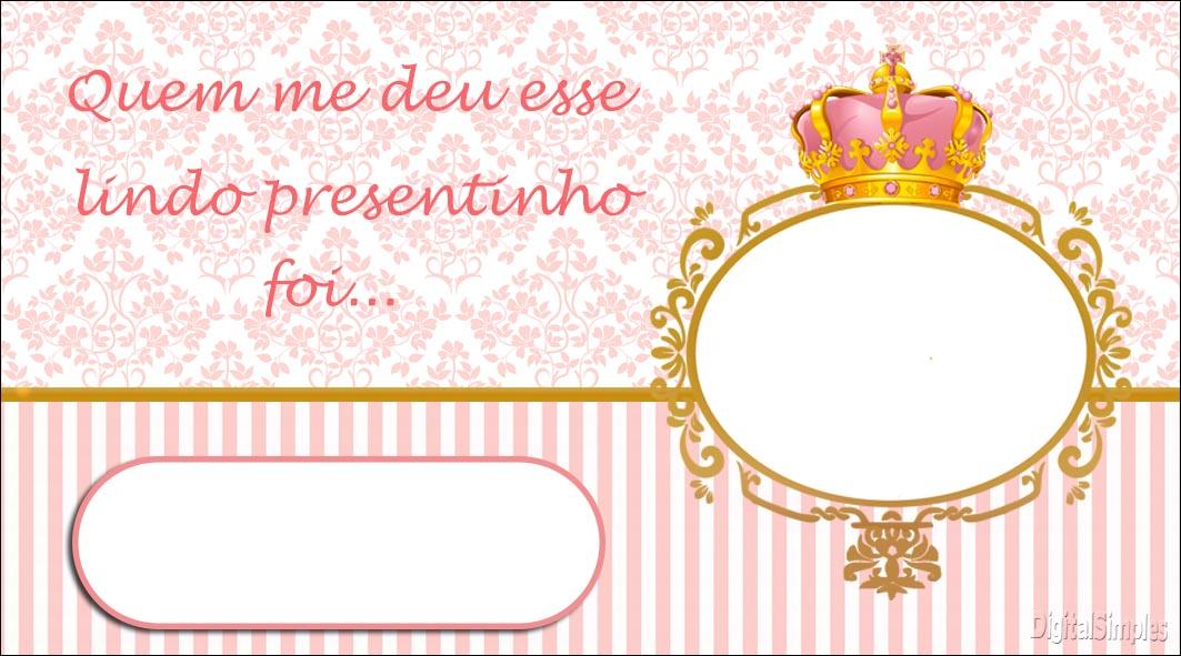 Corona Dorada En Fondo Rosa: Etiquetas Para Candy Bar Para