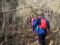 Hikers heading north on Fish Canyon Trail, Angeles National Forest