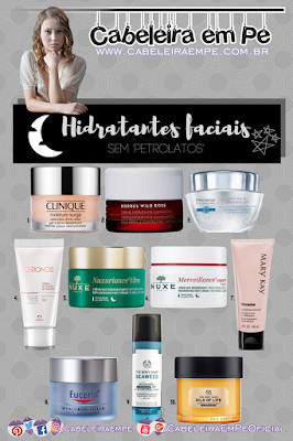 Hidratantes faciais para a noite das marcas Clinique, Korres, Avon, Natura, Eucerin, Nuxe, Mary Kay e The Body Shop